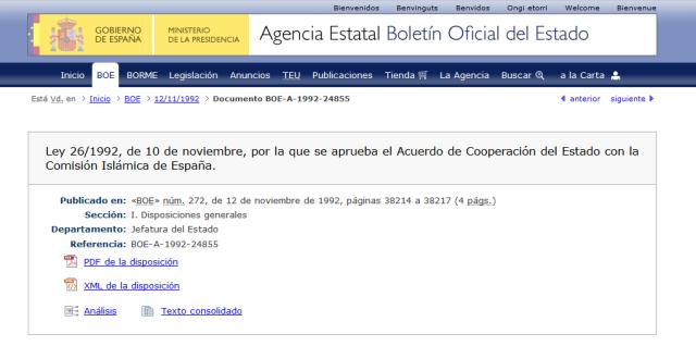 AcuerdoDeCoperacionDelEstadoConLaComisionIslamicaLey26_1992